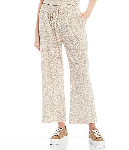 GB Coordinating Animal Print Mid Rise Wide Leg Pants