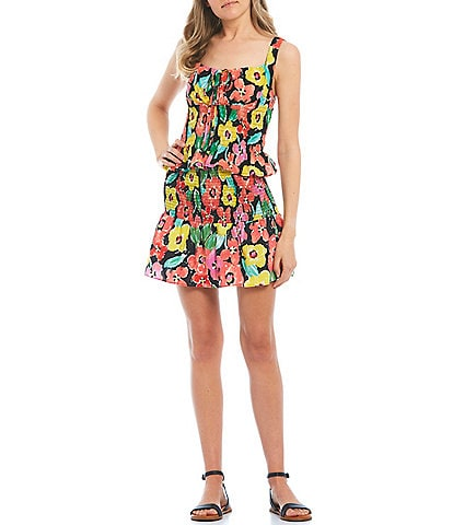 GB Coordinating Floral Smocked Tie Front Tank Top