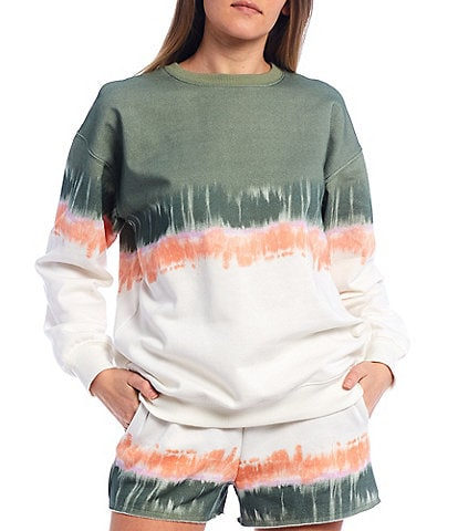 GB Coordinating Knit Horizontal Tie Dye Pullover Sweatshirt