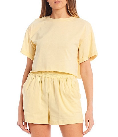 GB Coordinating Rolled Cuff Short Sleeve Cropped Tee