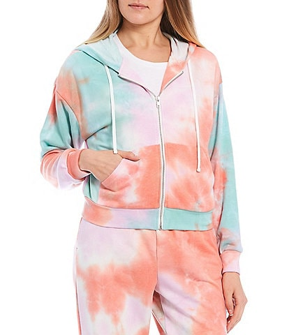 GB Coordinating Tie Dye Zip Front Sweatshirt