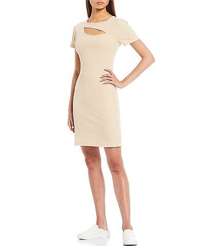 GB Cut Out Short Sleeve Ribbed Knit Dress