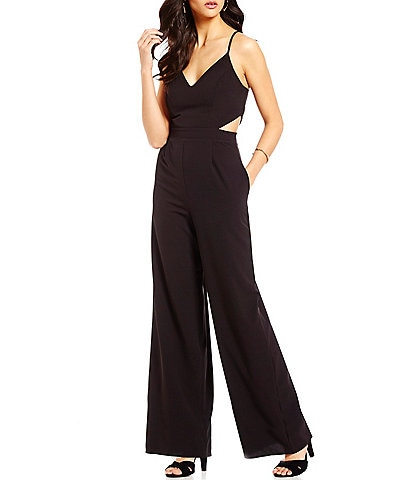 ff1e4707b0f GB Cut Out Wide Leg V-Neck Jumpsuit