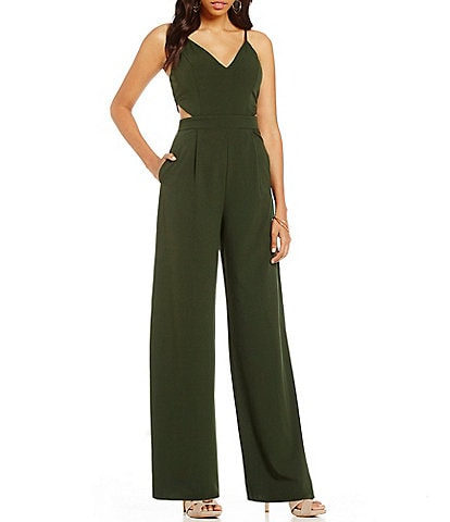 GB Cut Out Wide Leg V-Neck Jumpsuit