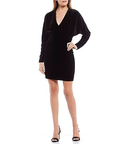 GB Deep V-Neck Long Sleeve Velvet Sheath Dress
