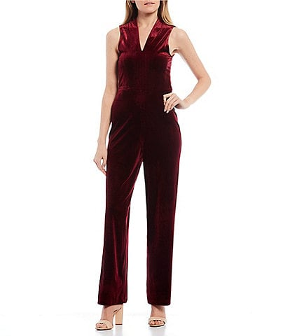 GB Deep V-Neck Sleeveless Velvet Wide Leg Jumpsuit