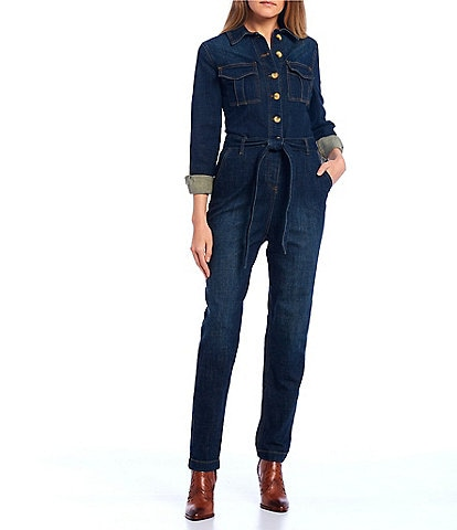 GB Denim Button Front Boiler Jumpsuit