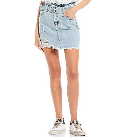 GB Distressed Mid Rise Belted Skirt