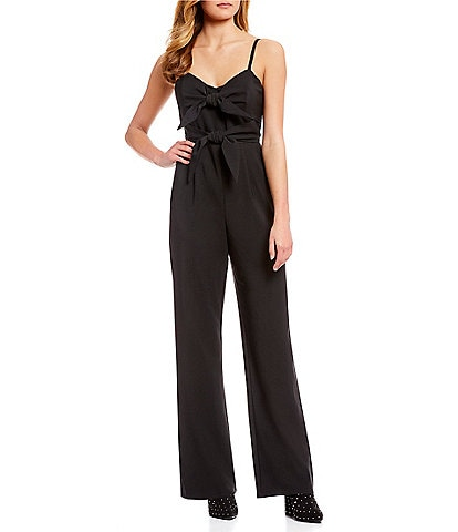 GB Double Tie Detail Spaghetti Strap Sweetheart Neck Wide Leg Jumpsuit