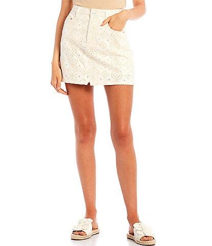 GB Eyelet Denim Mini Skirt