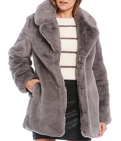 GB Faux Fur Open Front Coat