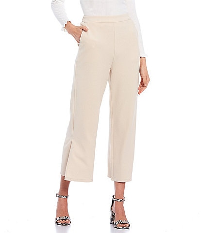 GB Coordinating Flat-Front Knit Pull-On Side-Slit Pants
