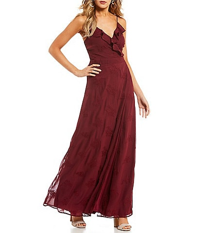 GB Floral Embroidered V-Neck Wrap Maxi Dress