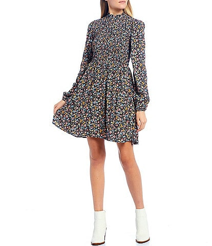 GB Floral Print High Neck Long Sleeve Smocked A-Line Dress