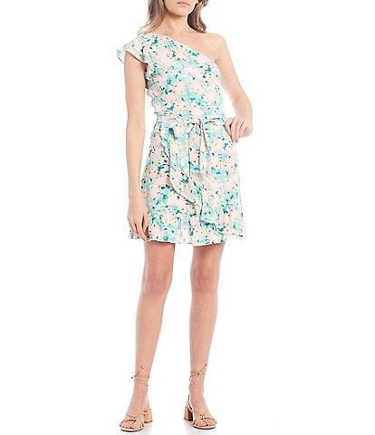 GB Floral Print One Shoulder Dress