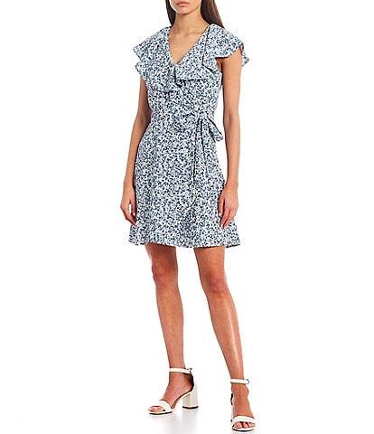 GB Floral Print Ruffle Wrap Dress
