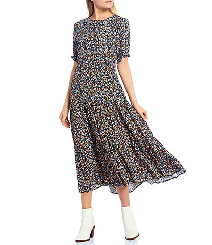 GB Floral-Printed Short Sleeve A-line Midi Dress