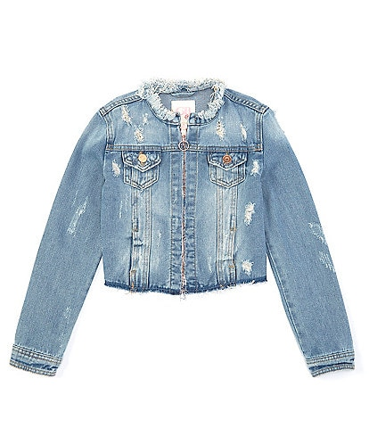 GB GB Girls Big Girls 7-16 Cropped Distressed Denim Jacket