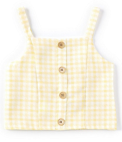 GB GB Girls Big Girls 7-16 Gingham Button-Front Tank Top