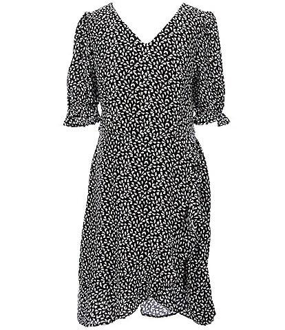 GB GB Girls Big Girls 7-16 Ruffle-Sleeve Printed Faux-Wrap Dress