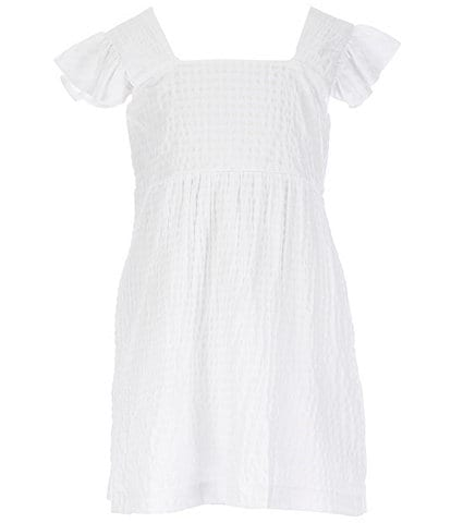 GB GB Girls Big Girls 7-16 Ruffle-Sleeve Textured Shift Dress