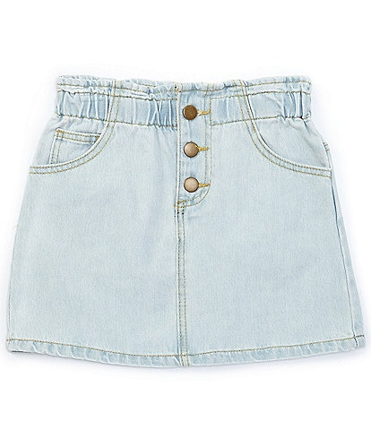 GB GB Girls Big Girls 7-16 Ruffle-Waist Denim Mini Skirt