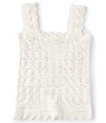 GB GB Girls Big Girls 7-16 Scalloped Textured Knit Tank Top