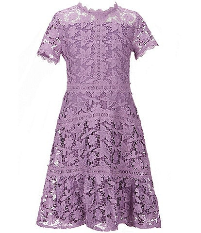 GB GB Girls Social Big Girls 7-16 Floral Lace Fit-And-Flare Dress