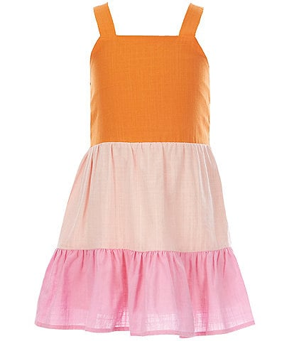 GB GB Girls Little Girls 2T-6X Color Block Tiered Dress