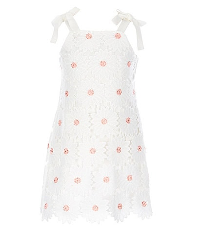 GB GB Girls Little Girls 2T-6X Tie-Shoulder Daisy Lace Shift Dress