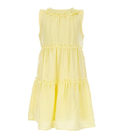 GB GB Girls Little Girls 2T-6X Yellow Tiered A-Line Dress