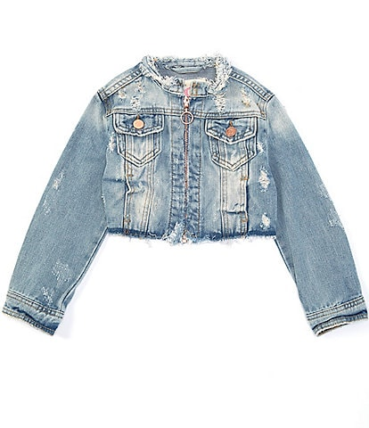 GB GB Girls Little Girls 4-6X Cropped Distressed Denim Jacket