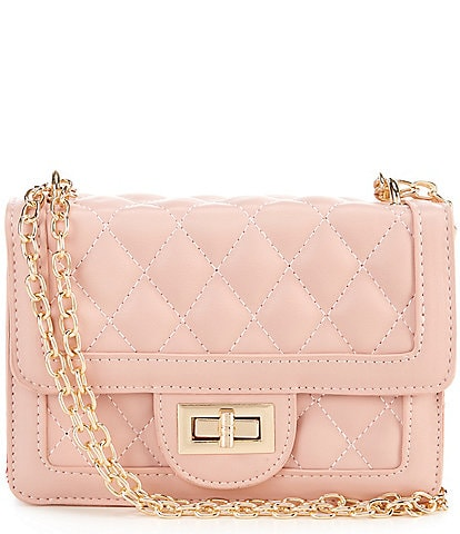 GB GB Girls Quilted Square Turn Lock Chain Strap Bag