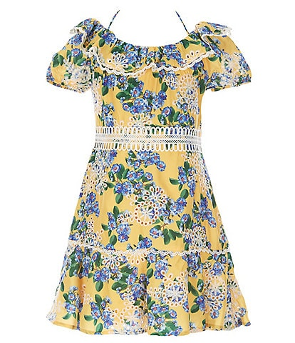 GB GB Girls Social Big Girls 7-16 Floral Embroidered Lace-Trim A-Line Dress