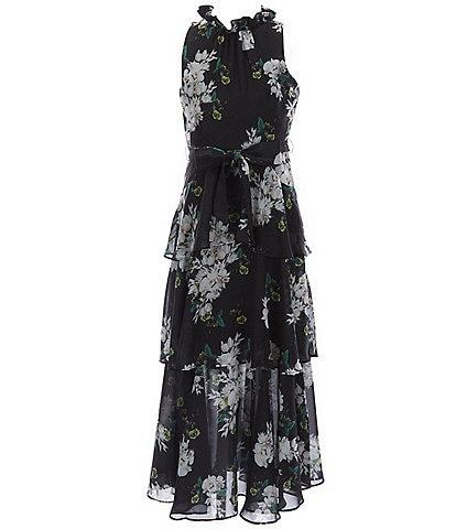 GB GB Girls Social Big Girls 7-16 Floral Tiered Maxi Dress