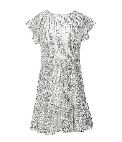 GB Girls Social Big Girls 7-16 Flutter-Sleeve Sequin Dress