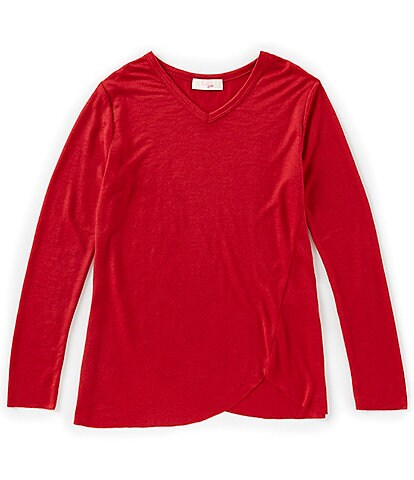 GB Girls Active Big Girls 7-16 Long-Sleeve Washed-Effect Tulip Wrap Tunic