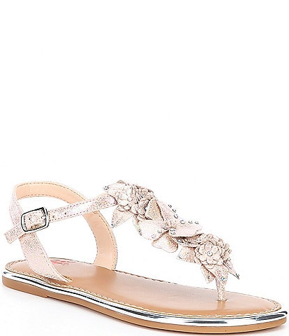 GB Girls' Beauty-Girl Floral T-strap Flat Sandals Youth
