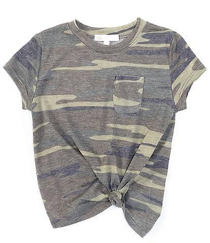 GB Girls Little Girls 2T-6X Knit Camo Pocket Tee