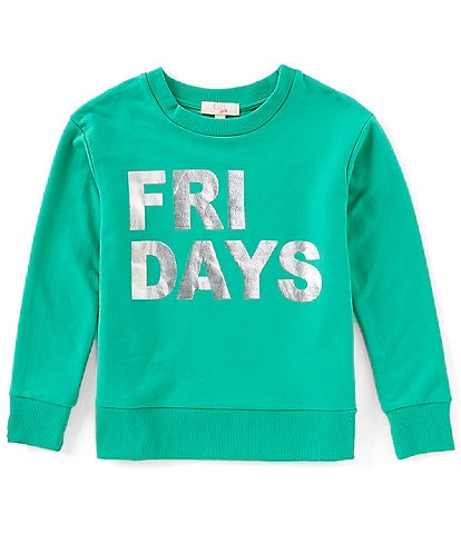 GB Girls Big Girls 7-16 Active Friday Foiled Graphic Fleece Sweatshirt