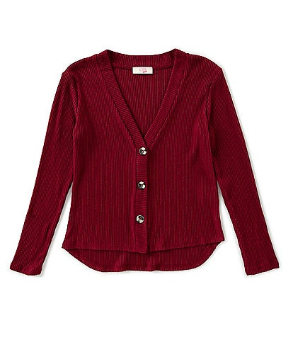GB Girls Big Girls 7-16 Brushed Knit Button Front Cardigan
