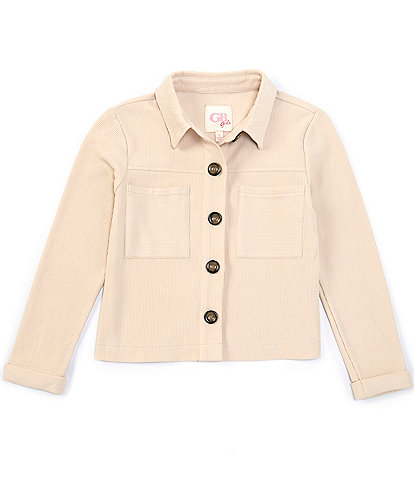 GB Girls Big Girls 7-16 Button Front Ribbed Knit Jacket