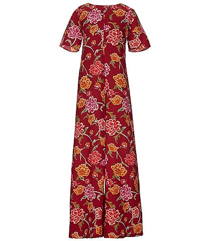 GB Girls Big Girls 7-16 Floral-Printed Tie Waist Wide Leg Jumpsuit