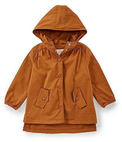 GB Girls Big Girls 7-16 Gathered Back Mid-Thigh Snap-Front Trench Coat