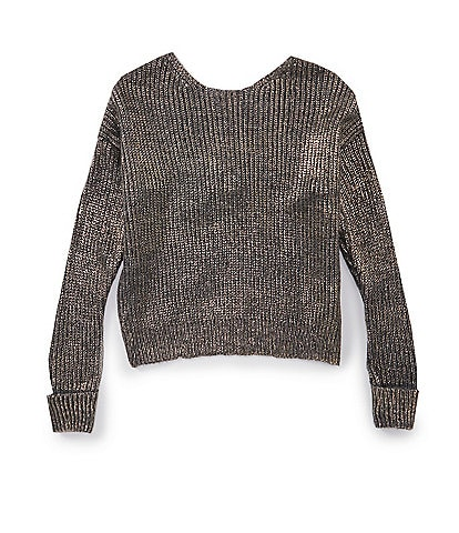 GB Girls Big Girls 7-16 Long-Sleeve Knot-Back Metallic Sweater