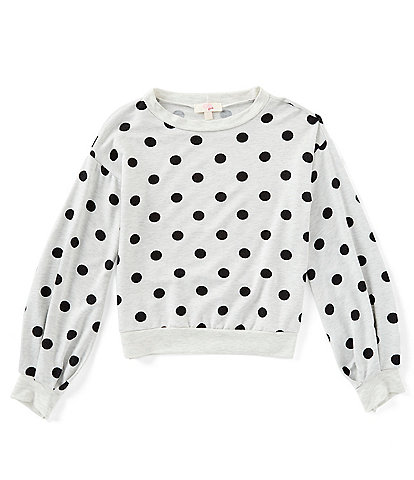 GB Girls Big Girls 7-16 Long Sleeve Polka Dot Pullover