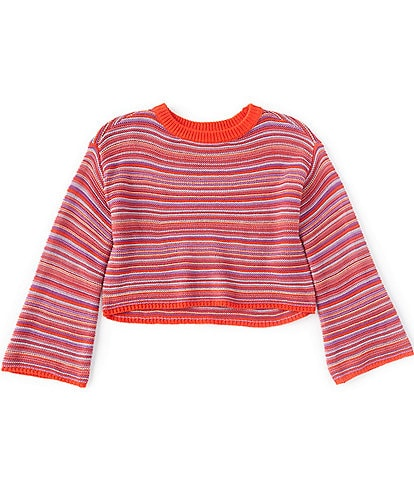 GB Girls Big Girls 7-16 Multi-Color Striped Long Flare Sleeve Sweater