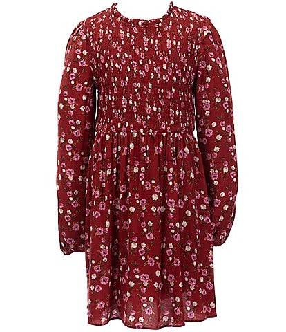 GB GB Girls Big Girls 7-16 Floral Smocked A-Line Dress