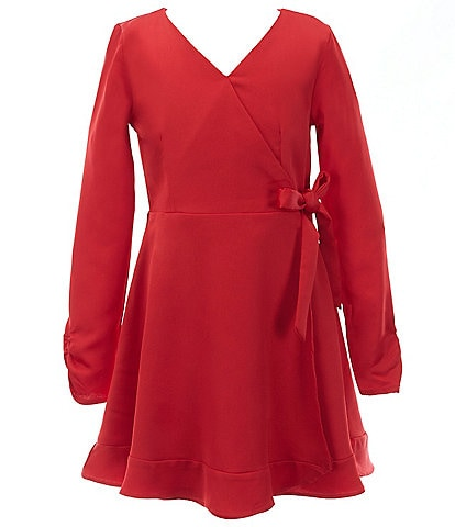 GB GB Girls Big Girls 7-16 Ruffle-Hem Sateen Faux-Wrap Dress
