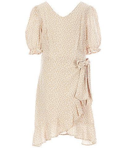 GB Girls Big Girls 7-16 Ruffle-Sleeve Printed Faux-Wrap Dress